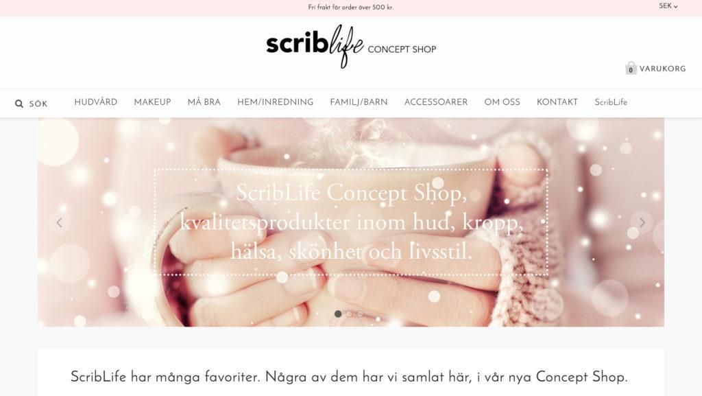 Skärmavbild webshop